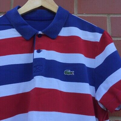 Mens Lacoste Blue and Red And White Thick stripe polo size 4 Medium - M