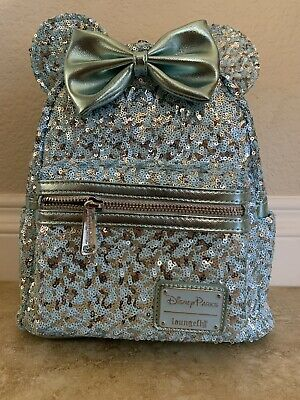 Disney Loungefly Minnie Mouse Mini Backpack & Wristlet (Arendelle Aqua) - New