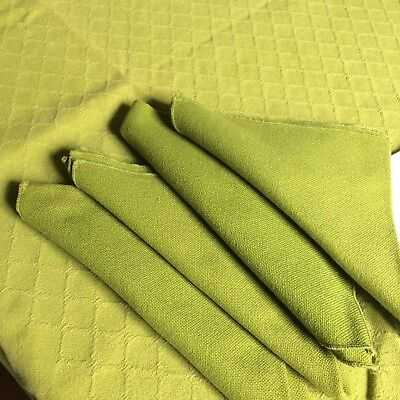 Mid century vtg 70s tablecloth 4 napkins cotton avocado jacquard diamond 61x47""