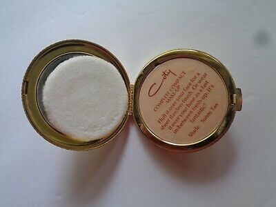 New/Sealed Vintage Goldtone Coty Complete Mirrored Compact Sunny Tan