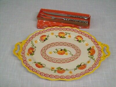 Temptations - Old World Pumpkin Patch -Large Serving Platter and Carving Set NEW