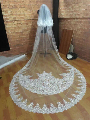 Cover Face Wedding Veils White Ivory Cathedral 2T Lace veil Bridal Accessories