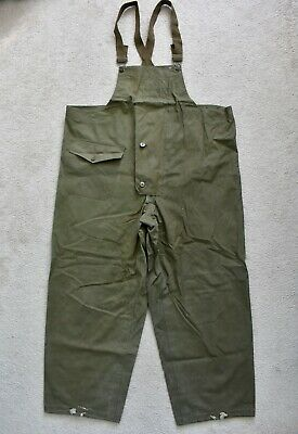 WW2 WWII 40s USN Navy Foul Wet Weather Deck Pants Bib Overalls N-1 Military L