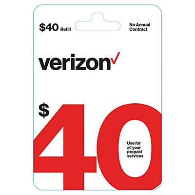 $40 Verizon Wireless Prepaid Refill Top up PIN Card Mail Delivery