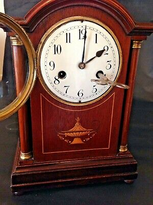 Antique Sheraton Revival 1910 Edwardian Mantle Clock 8 Day Mahogany Case
