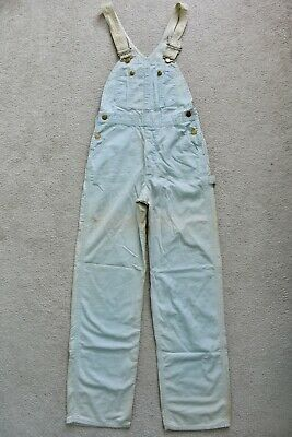Vtg 70s LEE Faded Duck Egg Blue Denim Bib Overalls Dungarees 6 W24/W25 L31