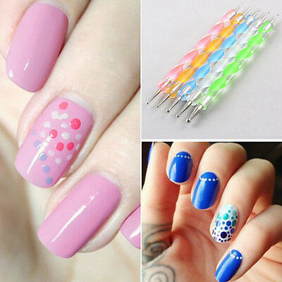 5x Marbleizing Dotting Manicure Tools Painting Dot Pen 2Way Nail-Art