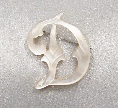 Antique Victorian Hand Carved Mother of Pearl Shell Script Initial D Pin Brooch