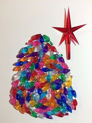 Ceramic Christmas Tree Lights 100 MEDIUM TWIST BULBS FLAME PEGS + LARGE RED STAR