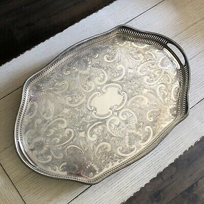 Reed & Barton Gallery Clawfoot Silver Plated Oval Tray 402 Engrave Scrollwork