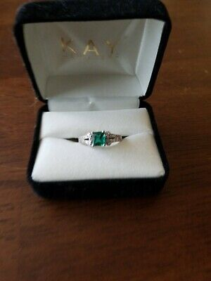 Sterling Silver Ring Lab created emerald with Diamond Accents Size 8.5