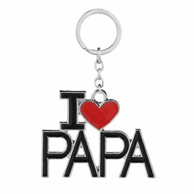 Chic Engraved Letters I LOVE PAPA Key Chain Keychain Ring Keyring Father's Day