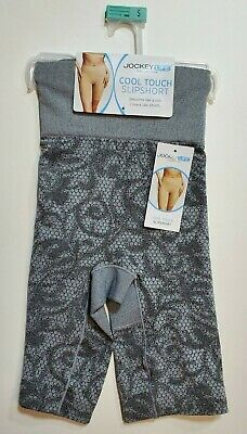 Women's Jockey Life Collection Cool Touch Slipshort Seamfree Gray/Black S NWT