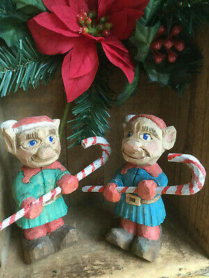 vintage hand carved wooden Christmas Elf Gnome Award Winning Canadian Carver