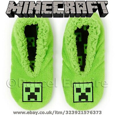 Official MINECRAFT FOOTLETS Boys Girls Kids Slippers Socks Game Creepers Shoes