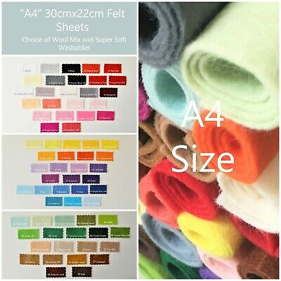 "Wool Mix and Like Soft Feel Washable Felt | 60+ Colours | 30cmx22cm ""A4"" Size"