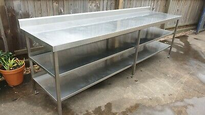Stainless Steel Commercial Bench table 2.9m Cafe Restaurant Takeaway Butcher