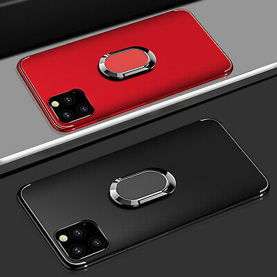 For iPhone 11 Pro Max 11 Luxury Slim Matte Case Ring Holder Stand Rubber Cover