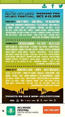Austin City Limits Weekend Two - SUNDAY General Admission  - 10/13/19