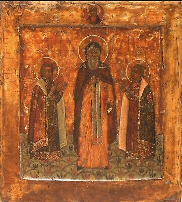 16-17C Antique Hand Painted Russian Icon Of Theodor Of Smolensk Kovcheg
