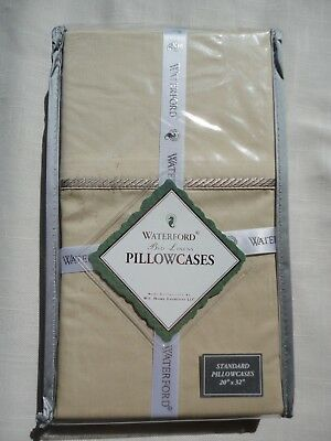 "NWT Waterford Portuna Wheat Pair of Standard Pillowcases 20""x32"""