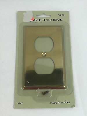 Lacquered Vintage Solid Brass Electrical Receptacle Outlet Cover Wall Plate NOS