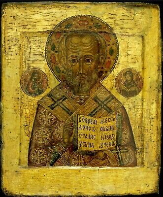 16c ANTIQUE HAND PAINTED RUSSIAN ICON OF ST.NICHOLAS  KOVCHEG