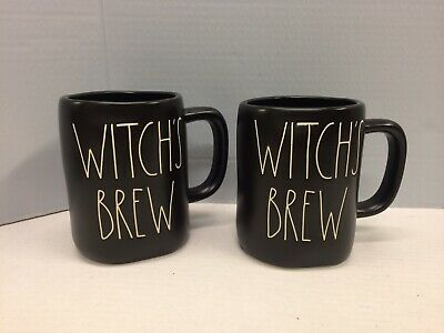 New Rae Dunn Set Of 2 Halloween Black WITCH'S BREW Mugs LL Large Letters