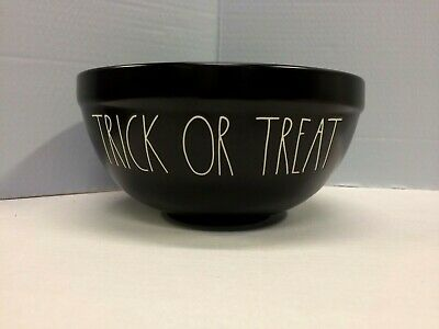 Rae Dunn Black TRICK OR TREAT Ceramic Bowl LL Large Letter Artisan Collection