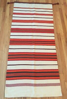 FREE SHIPPING! Vintage Mexican Rug Blanket Wool Woven Wall Hanging Over 5x2 ft.
