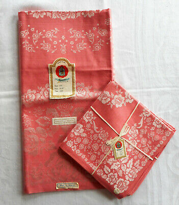 Vintage Belgian Damask Tablecloth & 4 Napkins, Coral Cotton & Rayon, New