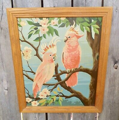 """VTG. 50's - 60's COCKATIEL BIRDS PBN - PAINT BY NUMBER PAINTING 16"""" x 20"""""""