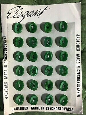VINTAGE CARD GLASS CZECH BUTTONS, 24, Jablonex, Elegant, green, oval, 5/8 x 3/8""