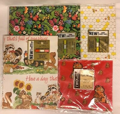 Lot of 4 Vintage Packages Forget Me Not America Greetings Gift Wrap & Gibson NOS
