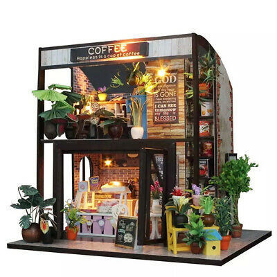 DIY Wooden Miniature Cafe House Dollhouse with Furniture LED Light Toy Gift HEA