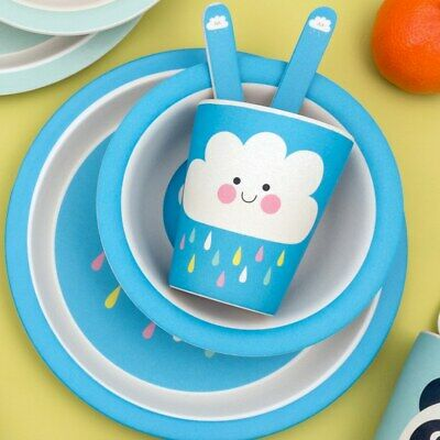 Rex London Toddler Bamboo Feeding Set Plate, Bowl, Cup and Cutlery. Eco Friendly