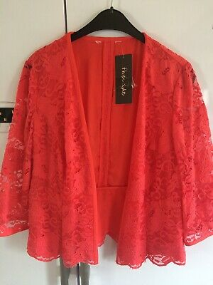 Phase Eight Coral Lace Jacket Size 16 New With Tags