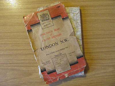 Vintage Ordnance Survey Map - London North West - sheet 160 in cloth - 1958