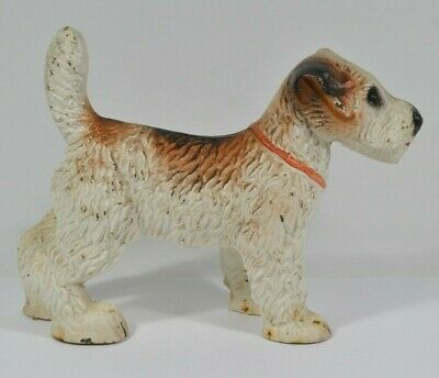 Vtg Cast Iron Wire Haired Fox Terrier Dog Statue Bookend Doorstop