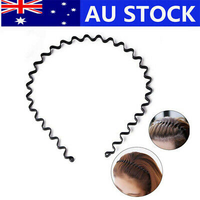 Fashion Men Women Girls Sports Metal Wave Hoop Headband Hair Band Unisex OZ