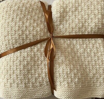 Beautiful Hand Knitted Rich Cream Coloured Throw