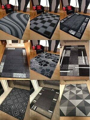 Modern Rugs Mat Black Grey Extra Large Small Big Floor Cheap Clearance Runner