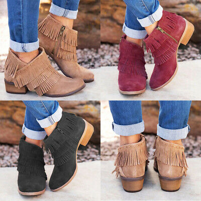 Womens Tassel Ankle Boots Zip Round Toe Chunky Low Heel Boots Casual Shoes Size