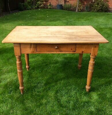 Vintage Antique Small German Pine Table Scrubbed Plank Top & Drawer Victorian