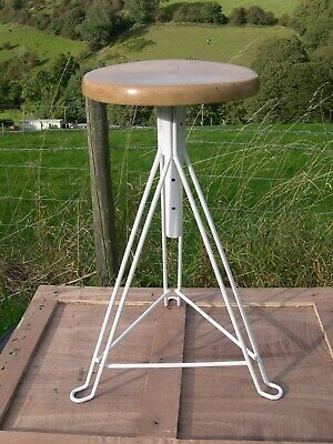 Vintage Upcycled Height Adjustable Stool with Beech Wood Seat.