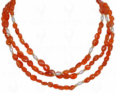 """60"""" inches long pearl & Carnelian gemstone oval shape bead necklace NM1001"""