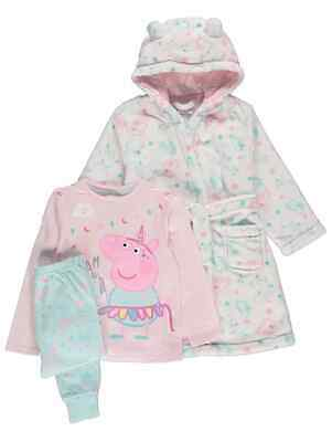 Kids Girls Peppa Pig Pyjamas and Dressing Gown 3-piece Set Size 1-6 years Pink