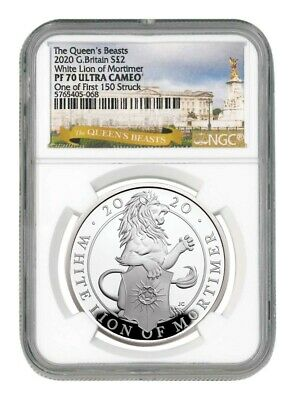 2020 Great Britain 1 oz Silver Queen's Beasts White Lion of Mortimer Pr70