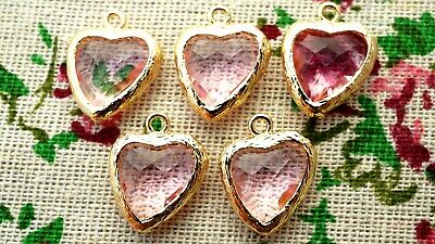 Heart jewel charms pale pink gem gold jewellery supplies C1209