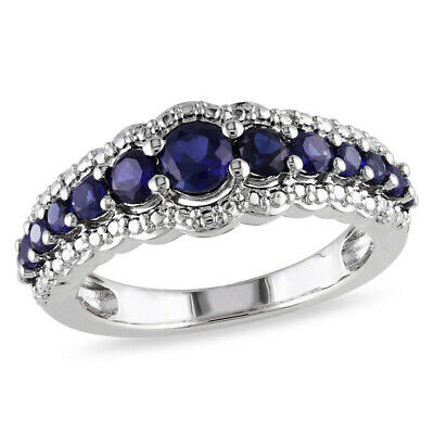 Fashion 925 Silver Rings for Women Jewelry Blue Sapphire Wedding Ring Size 10